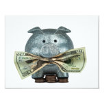 "Silver Piggy Bank Eating Money 4.25"" X 5.5"" Invitation Card"