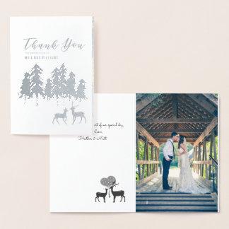 Silver Pine Deer Winter Wedding Photo Thank You Foil Card