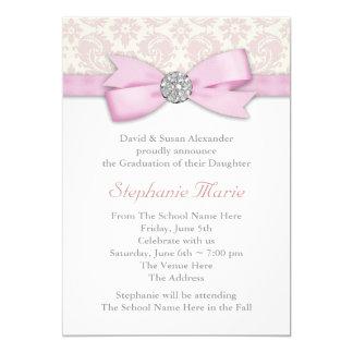 Silver Pink Damask Photo Graduation Announcements