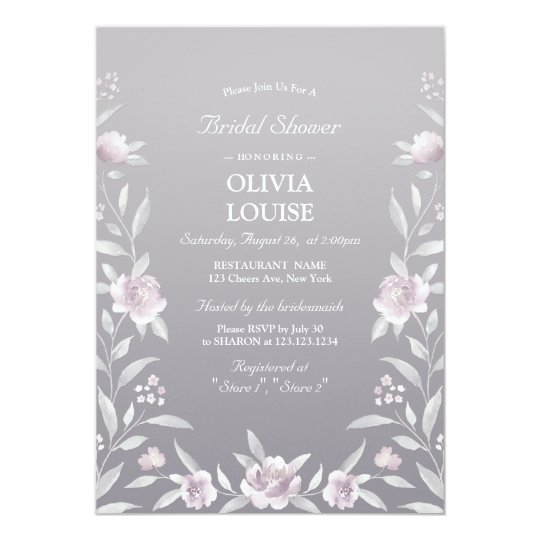 Silver pink floral Chinoiserie bridal shower Card