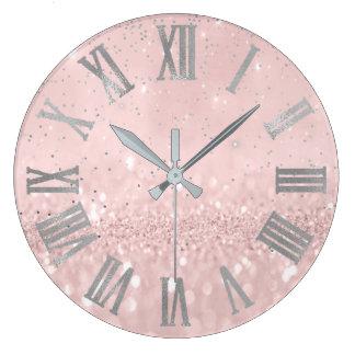 Silver Pink Glitter Cpnfetti Metallic Roman Numers Large Clock