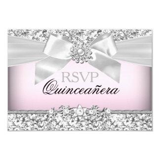 "Silver Pink Glitter & Jewel Bow Quinceanera RSVP 3.5"" X 5"" Invitation Card"