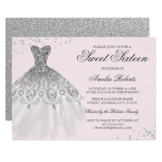 Silver Pink Sparkle Dress Sweet Sixteen Invitation