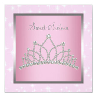 Silver Pink Sparkles Sweet Sixteen Birthday Party Card