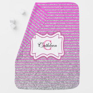 Silver Pink Stripe Pattern Monogram Baby Blanket