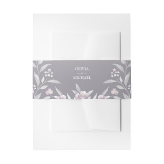Silver pink watercolor floral Chinoiserie Wedding Invitation Belly Band