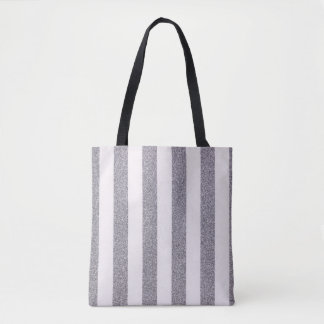 Silver Pinstripe striped tote bag