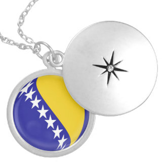 "Silver plate Locket +18"" chain Bosnia flag"