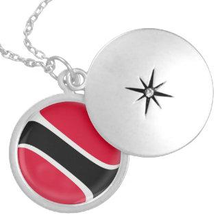 "Silver plate Locket +18"" chain Trinidad flag"