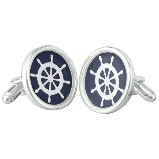 Silver plated cuff links with nautical ship wheel