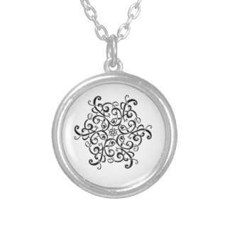 Silver Plated Necklace-Black and White Design Silver Plated Necklace