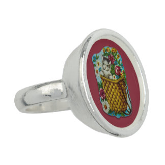 Silver plated ring with cute vintage cat motive