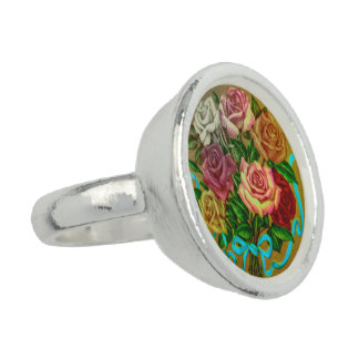 Silver plated ring with vintage rose motive