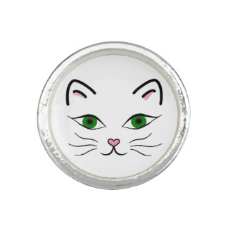 Silver Plated Round Ring - Kitty Face