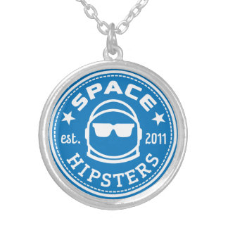 Silver plated Space Hipsters logo necklace