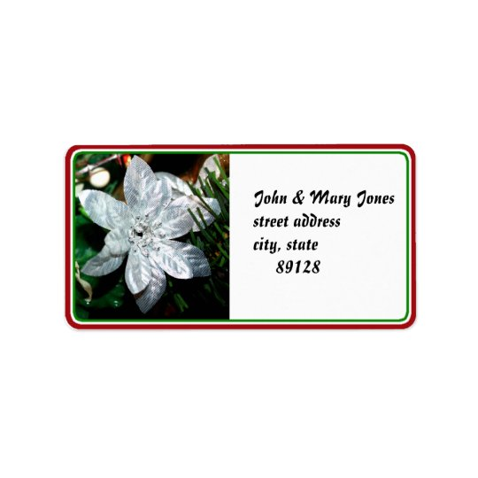 Silver Poinsettia Ornament Label