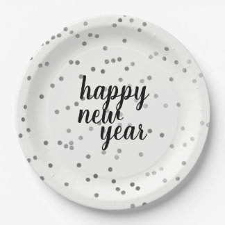 Silver Polka Dot Pattern New Year's Paper Plates