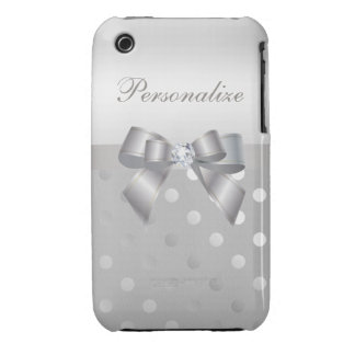 Silver Polka Dots, Bow & Diamond Personalized iPhone 3 Cases
