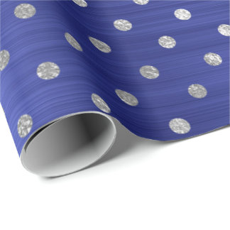 Silver Polka Dots Cobalt Blue Steel Shiny Sapphire Wrapping Paper