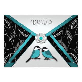 "Silver & Pool Blue Love Birds Wedding RSVP Cards 3.5"" X 5"" Invitation Card"