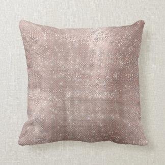 Silver Powder Pink Rose Gold Brush Gray Metallic Throw Pillow