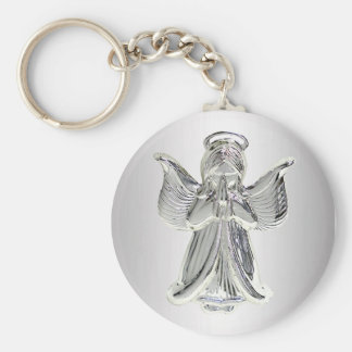 silver praying angel keychain