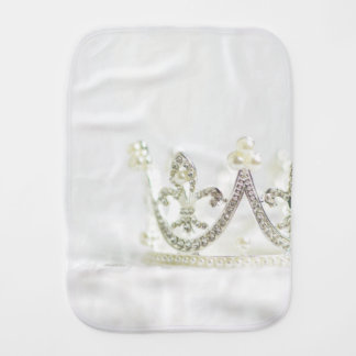 Silver Princess Crown Burp Cloth