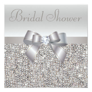 Silver Printed Sequins Bow & Diamond Bridal Shower Announcements