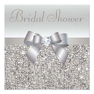 Silver Printed Sequins Bow & Diamond Bridal Shower Invitation