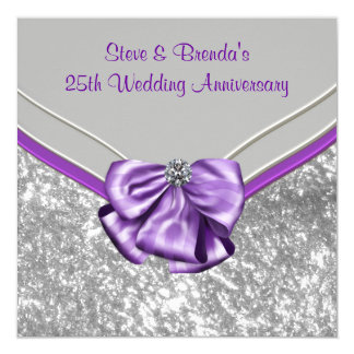 Silver Purple 25th Wedding Anniversary Party Card