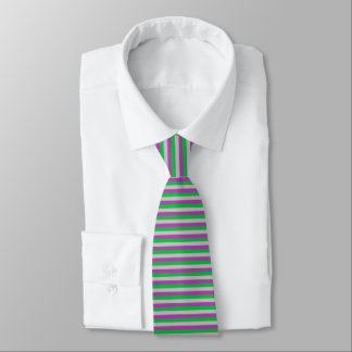 Silver, Purple and Green Stripes Tie