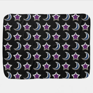 Silver Purple Blue Stars and Moons Pattern Black Baby Blankets