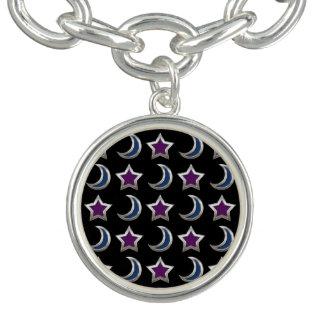 Silver Purple Blue Stars and Moons Pattern Black Charm Bracelets