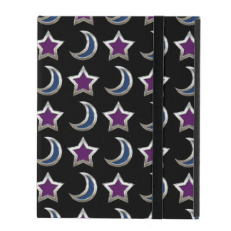 Silver Purple Blue Stars and Moons Pattern Black Cover For iPad