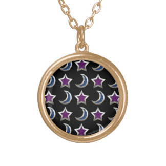 Silver Purple Blue Stars and Moons Pattern Black Gold Plated Necklace