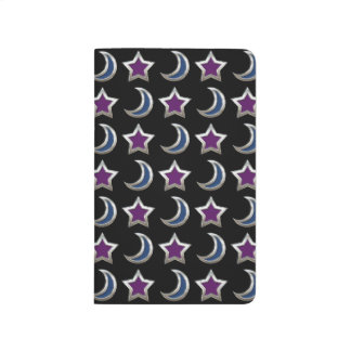 Silver Purple Blue Stars and Moons Pattern Black Journals