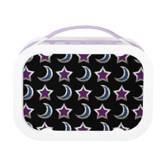 Silver Purple Blue Stars and Moons Pattern Black Lunchboxes
