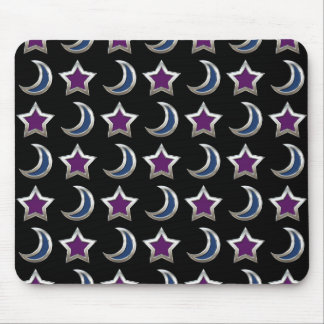 Silver Purple Blue Stars and Moons Pattern Black Mouse Pad