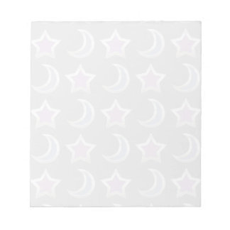 Silver Purple Blue Stars and Moons Pattern Black Notepad