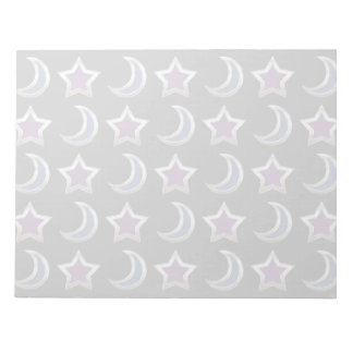 Silver Purple Blue Stars and Moons Pattern Black Notepads