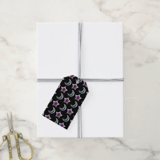 Silver Purple Blue Stars and Moons Pattern Black Pack Of Gift Tags