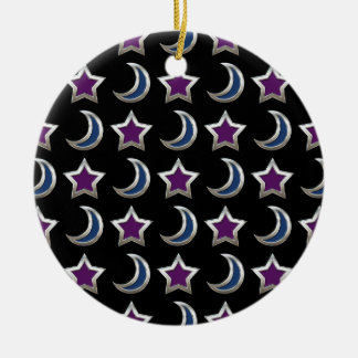 Silver Purple Blue Stars and Moons Pattern Black Round Ceramic Ornament