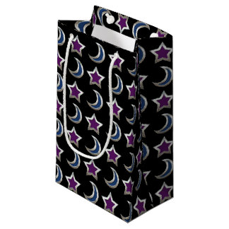 Silver Purple Blue Stars and Moons Pattern Black Small Gift Bag