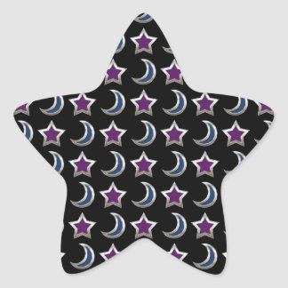Silver Purple Blue Stars and Moons Pattern Black Star Sticker