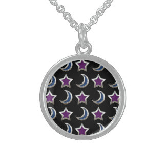 Silver Purple Blue Stars and Moons Pattern Black Sterling Silver Necklace