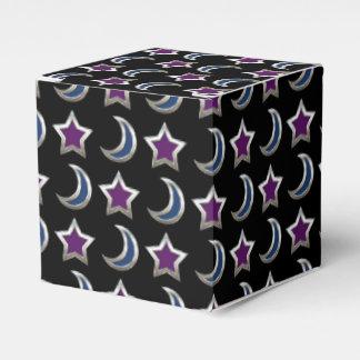 Silver Purple Blue Stars and Moons Pattern Black Wedding Favor Box