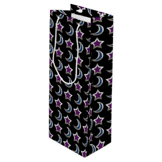Silver Purple Blue Stars and Moons Pattern Black Wine Gift Bag