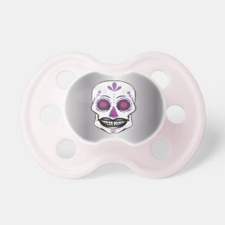 Silver Purple Candy Skull Pacifier