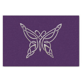 Silver Purple Celtic Butterfly Curling Knots Tissue Paper