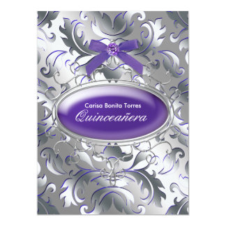 Silver Purple Damask Elegant Purple Quinceanera Card